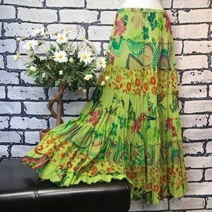 Bohemian Tropical Multi-Colour Maxi Skirt